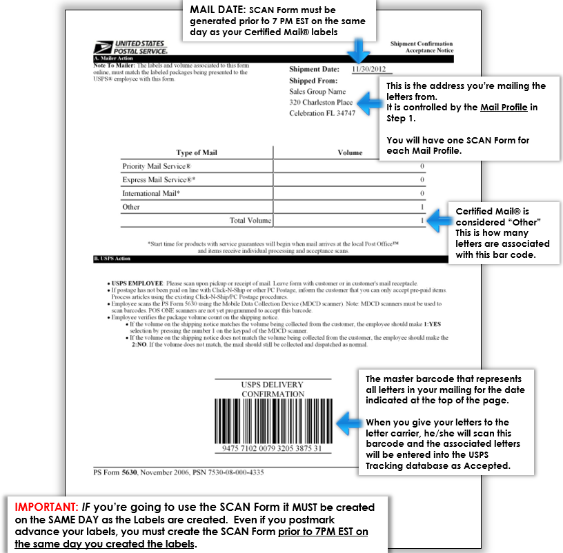 USPS SCAN Form example